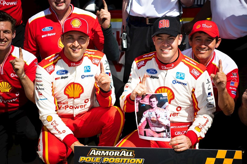 Coulthard [left] pictured with teammate Scott McLaughlin and engineer Ludo Lacroix. Photo / Getty Images