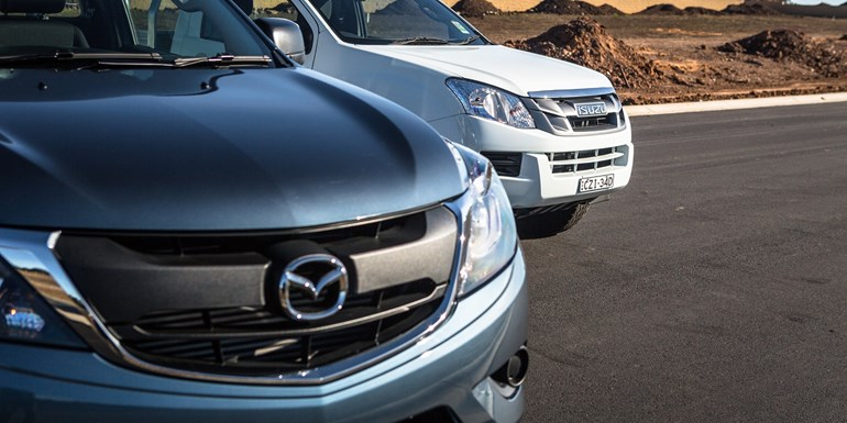 The Mazda BT-50 and Isuzu D-Max (inset). Pictures / Bevan Conley/Supplied