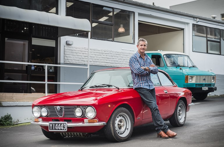 Chris Wilson with his 1975 Alfa Junior and 1978 Ford Transit Mark 2. Picture / Ted Baghurst