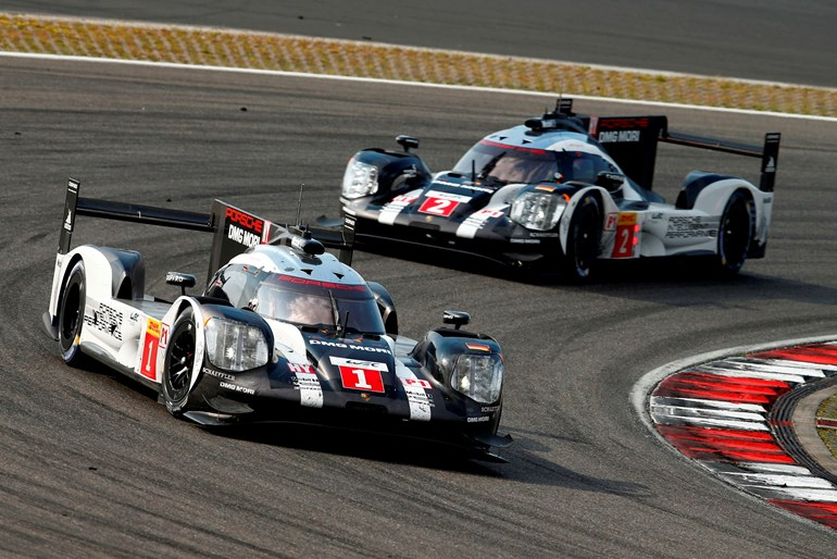 The Porsche 919 Hybrid of Brendon Hartley, Mark Webber and Timo Bernhard in the lead at Nurburgring. Pictures / Drew Gibson Photography, Supplied