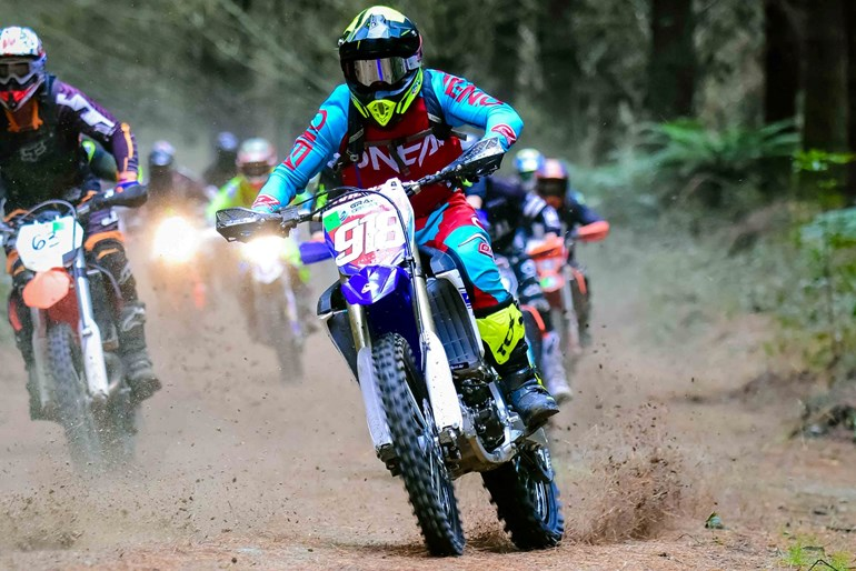 Titirangi's Callan May (above, Yamaha YZ250FX), on top in three separate competitions. Pictures / Andy McGechan, BikesportNZ.com