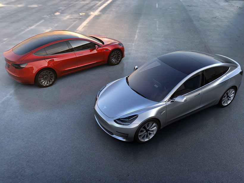 The Tesla Model 3, which may be delayed by the Tesla Solar City merger proposal. Picture/AP
