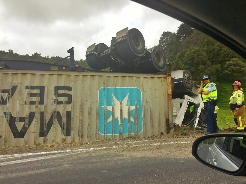 A truck driver had a lucky escape after his truck flipped on on SH3 in Ahititi this morning. Photo / supplied