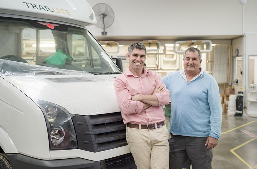 Adam (left) and Peter Newman of TrailLite. Photo / Ted Baghurst