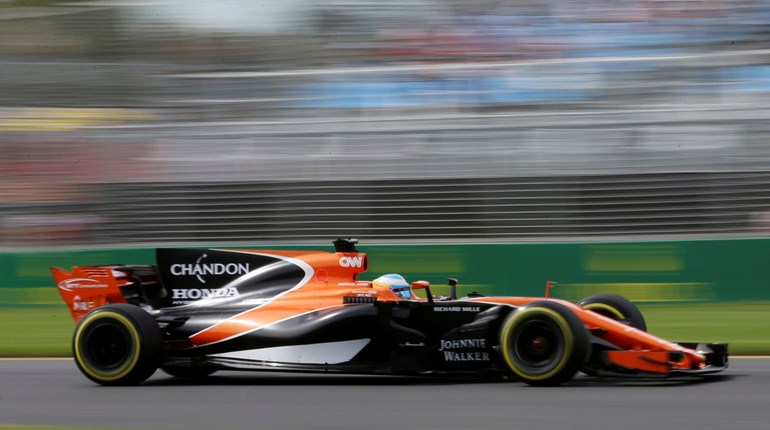 McLaren driver Fernando Alonso during the first practice session for the Australian Grand Prix in Melbourne. Photo / AP