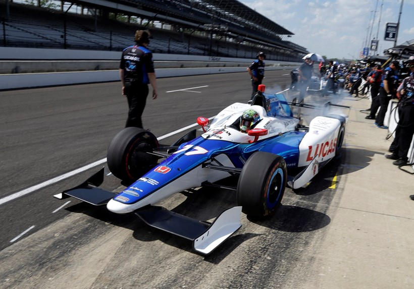 Jay Howard during practice for the Indianapolis 500. Photo / AP