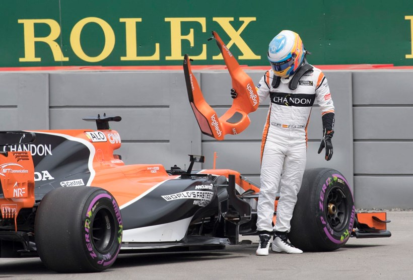 Fernando Alonso  was forced to pull out of the first practice session at the F1 Canadian Grand Prix. Photo / AP