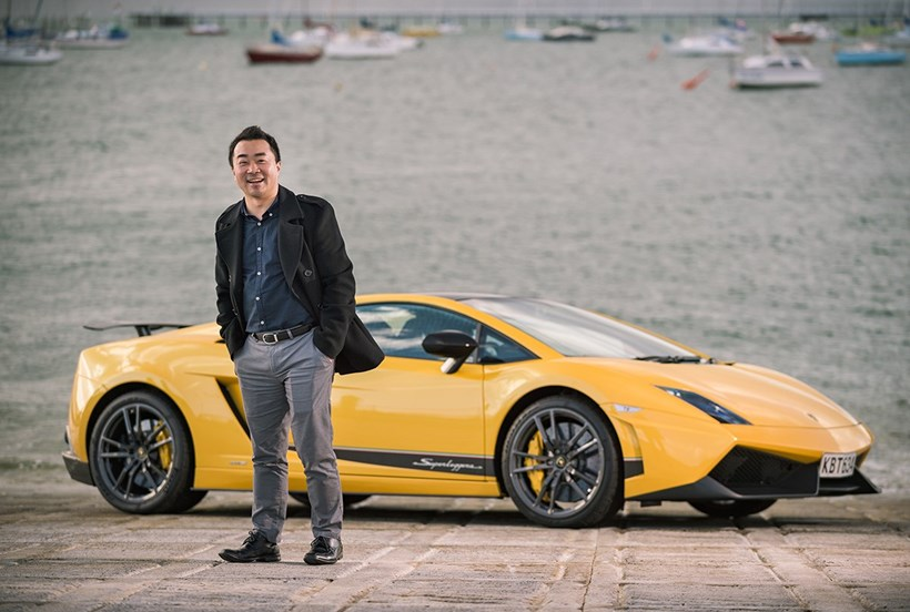 Stephen Shin with his Lamborghini Gallardo Superleggera LP570-4, 50th Edition. Photo / Ted Baghurst