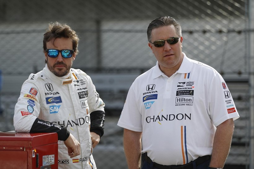 Fernando Alonso and McLaren team boss Zack Brown. Photos / Supplied