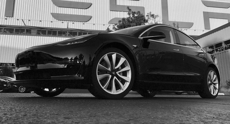 Musk shared this image of the first Model 3 with his followers on twitter. Photo / Elon Musk, twitter