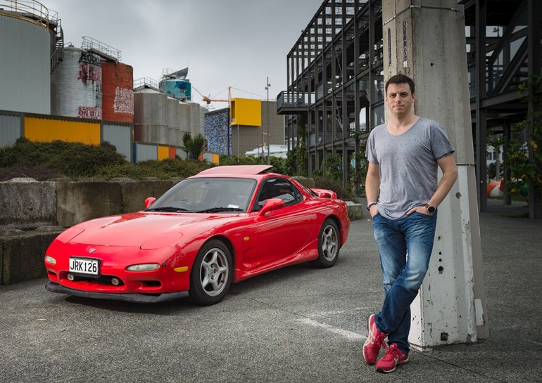 Ewan Conley with his 1992 Mazda RX7. Photo / Ted Baghurst