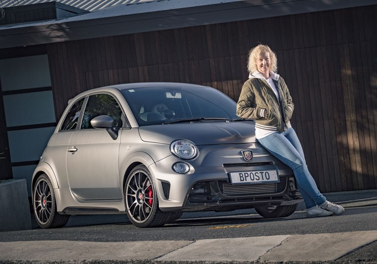 Lisa Hampton with her Fiat 695 Biposto. Photo / Ted Baghurst