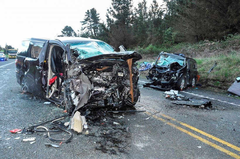 The wreckage of two motor vehicles that were involved in a crash on State Highway One ( SH1 ) north of Taupo that killed 4 peopleand injured a further 8. Photo / John van de Ven
