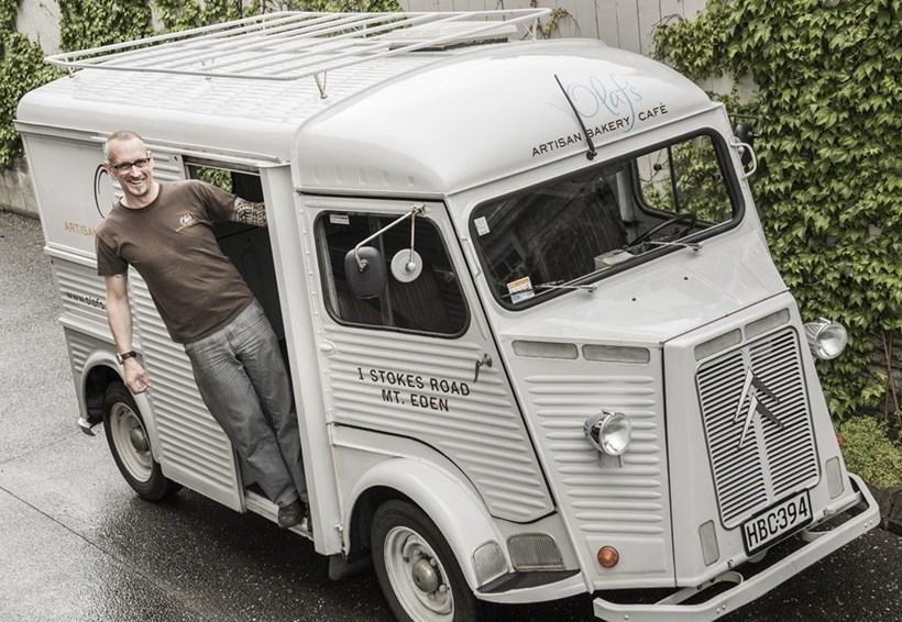 Olaf Blanke, Eden Village's artisan baker is a German-trained baker, pastry chef and chef. He drives a 1971 Citroen HY van. Photo / Ted Baghurst