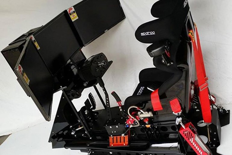 The Simworx racing simulator costs $20,000 and has been imported from Australia. Photos / supplied