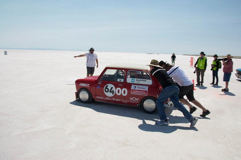 The Kiwi Mini is pushed out at Bonneville in 2012 — it set a world record.