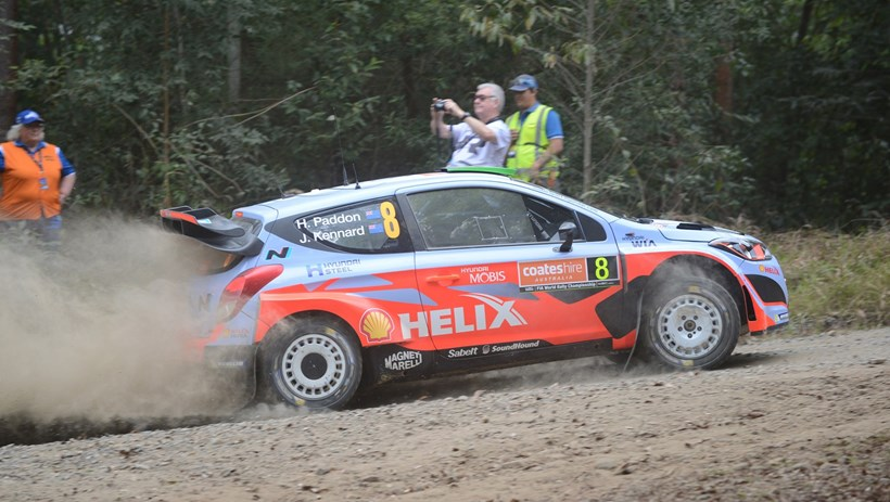 Hayden Paddon in action during yesterday's shakedown stage ahead of WRC Rally Australia. Picture/Colin Smith