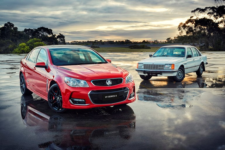 Holden heroes: the VF Series II with the original Commodore in the background.