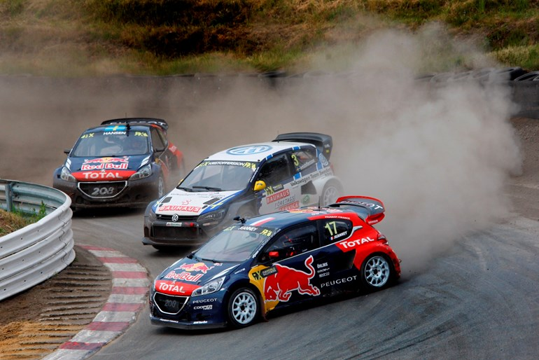 Close racing provides a spectacle in rallycross. Photo / Supplied