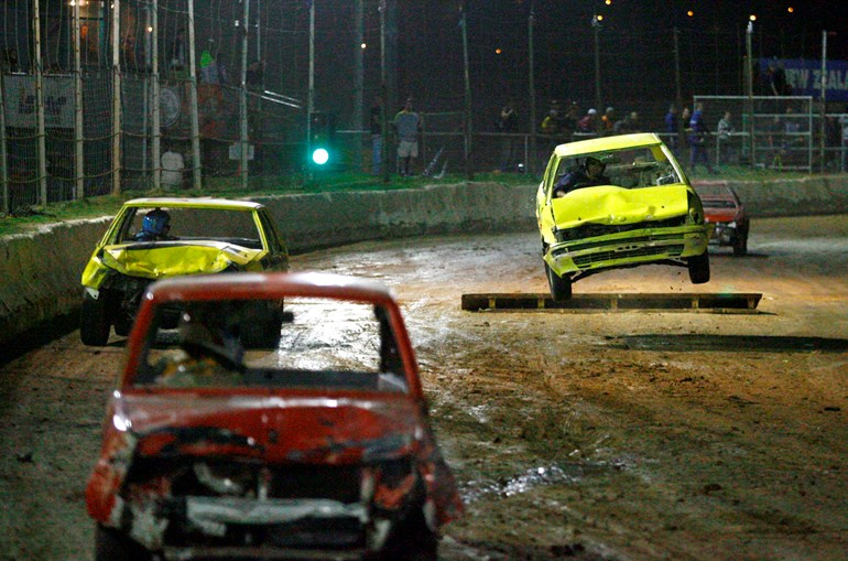 Action at Waikaraka Park speedway. Picture/Supplied.