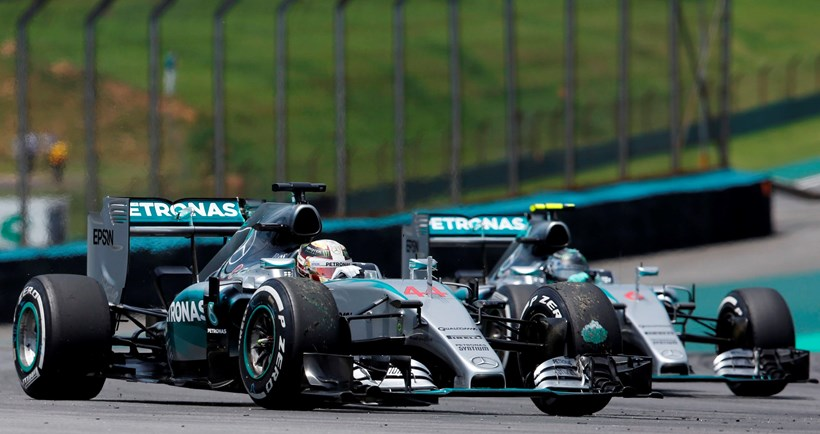 Mercedes driver Lewis Hamilton, left, and teammate Nico Rosberg, during practice for the Brazilian Grand Prix. Picture/AP