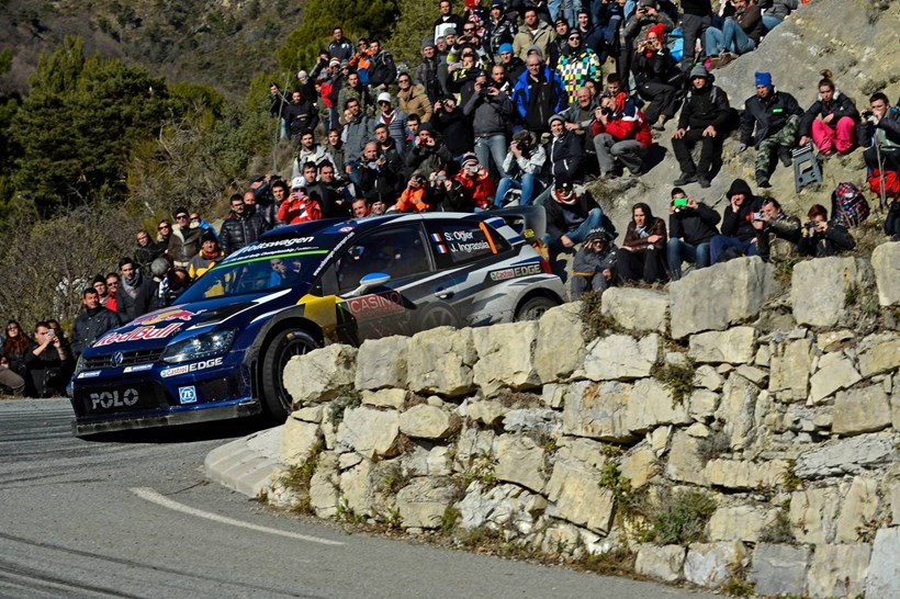 Volkswagen Polo R WRC in action on Rallye Monte Carlo 2015.