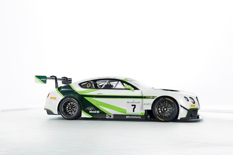 The new livery for Bentley's GT3 monster. Photo / Bentley