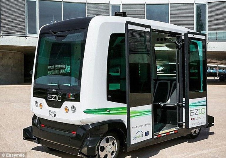 A similar trial took place in the Dutch town of Wageningen last week. The electric, driverless shuttle bus (pictured) took to Dutch public roads for the first time.