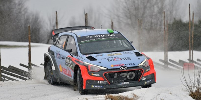 Hayden Paddon of New Zealand at the WRC Rally Sweden. Photo / Getty Images
