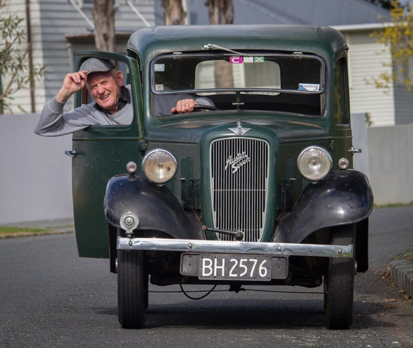 Geoff Dale and his Austin 7. Pictures / Supplied; Jacqui Madelin