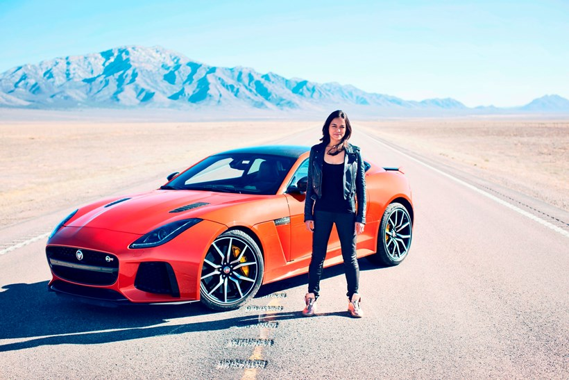 Michelle Rodriguez and the Jaguar F-Type SVR.Picture / Supplied