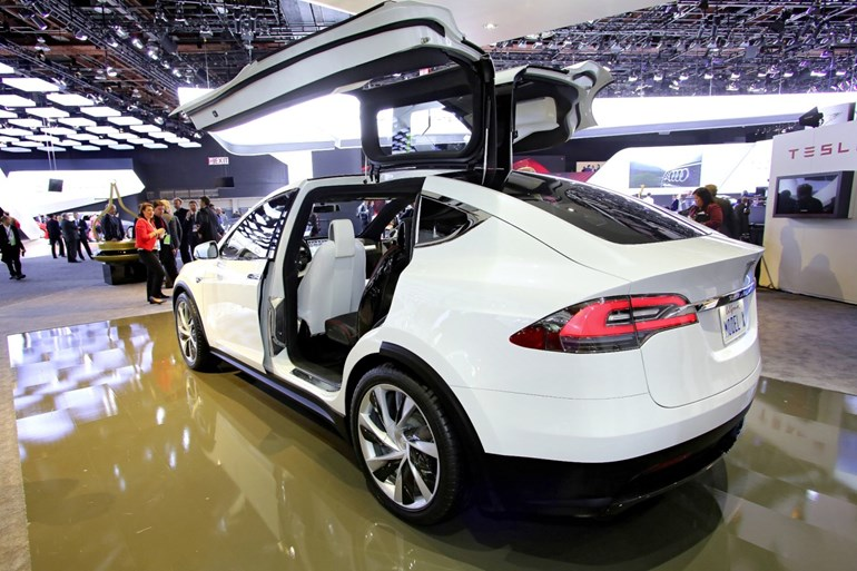 The Tesla Model X SUV, to be displayed at an LA department store this weekend. Picture/AP
