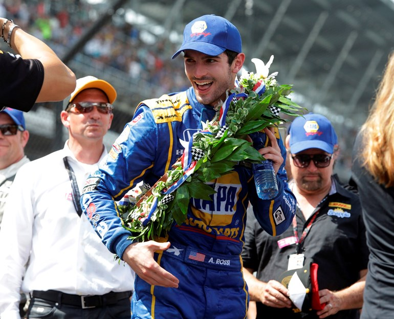 Alexander Rossi smiles after wining the 100th running of the Indianapolis 500. Picture/AP