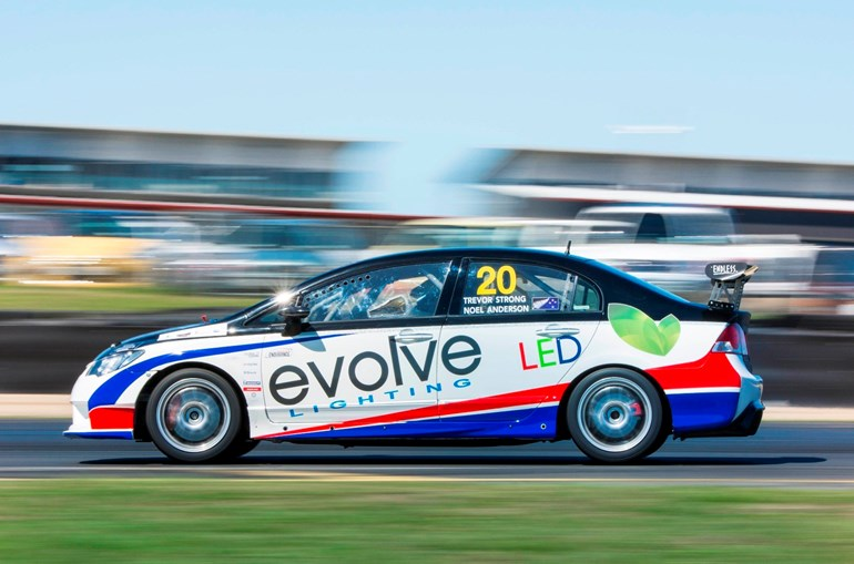 The Honda Civic Type R that Noel Anderson (below) shared with Trevor Strong, to claim third in the New Zealand Endurance 2000cc class. Pictures / Matthew Hansen; Supplied