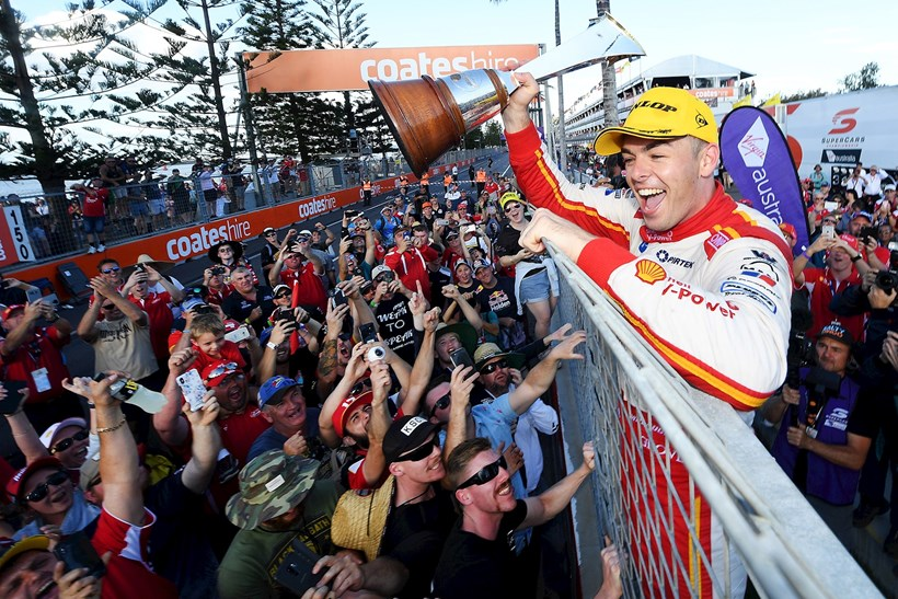 Scott McLaughlin celebrates his maiden Supercars title. Photos / Getty Images
