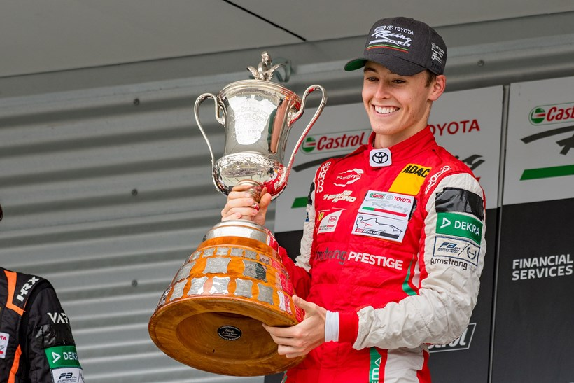 Marcus Armstrong, pictured with the New Zealand Motor Cup. Photos / Matthew Hansen